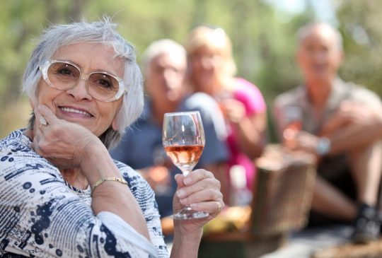 Lady with glass wine